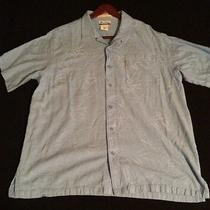 Columbia Shirt Xxl River Lodge Blue Button Down Short Sleeve Embroidered Shirt Photo
