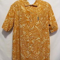 Columbia Short Sleeve Camp Shirt Mens Sz Xxl 2xl Hawaiian Tropical Orange Sunset Photo