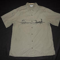Columbia Short Sleeve Shirt Fly Fishing Embroidered River Lodge Photo