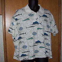 Columbia Size L Polo Shirt With Fish Photo