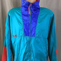 Columbia Size Large Teal Green Pink Blue Light Windbreaker Jacket Radial Sleeve Photo
