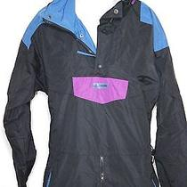 Columbia Ski Jacket Radial Sleeves 100% Nylon Size M Black Blue Purple Cold Euc Photo