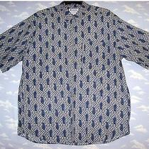 Columbia Sportswear Company Blue Fish Print Fishing Shirt S/s Xl Cotton Photo