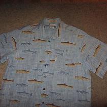Columbia Sportswear Company Fishing Fish Rivers Lodge Dress Hawaiian Shirt L Lg Photo