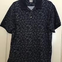 Columbia Sportswear Fish Print Polo Shirt Navy Mens L Authentic Photo