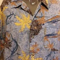 Columbia Sportswear Fishing Marlin Hawaiian Shirt Size Large Fish Outdoors Sport Photo
