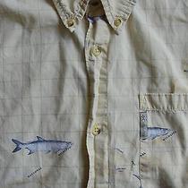 Columbia Sportswear Fishing Shirt L Yellow Sport Fish Key West Wildlife Refuge Photo