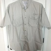Columbia Sportswear Fossil Gray Pfg Short Sleeve Button Down Fishing Shirt Xl Photo