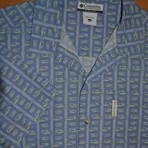 Columbia Sportswear Marlin Fish Print Short Sleeve Fishing Outdoor Shirt Size L Photo