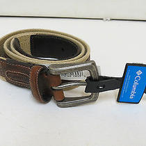Columbia Sportswear Mens Fabric Belt Size36 Khaki 100% Cotton With Leather Trim Photo