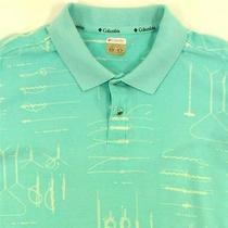 Columbia Sportswear Men's Green Teal Large Fish Knots Fishing 100% Cotton Shirt Photo