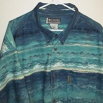 Columbia Sportswear Men's Shirt Short Sleeve Fish Palm Trees Fishing Lures 4xlt Photo