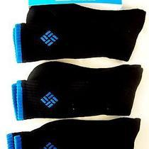 Columbia Sportswear Mens Socks 3 Pair Athletic Crew Full Cushion Black-Blue L Photo