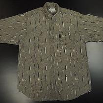 Columbia Sportswear Outdoor Button Front Shirt Men L Olive Fish Pattern Fishing Photo