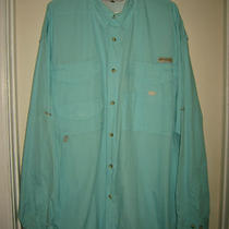 Columbia Sportswear Pfg L/s Fishing Hunting Camping Camp Shirt Xxl Aqua Photo