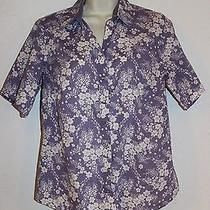 Columbia Sportswear Xco Mother of Pearl Snap Buttons Purple Floral Blouse Size M Photo