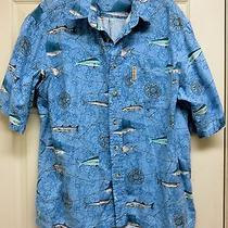 Columbia Sportswear Xl Hawaiian Style Sport Fishing Shirt W/ Maps Compass Fish Photo