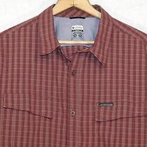 Columbia Titanium Long Sleeve Button Plaid Maroon Shirt / Xl / Excellent / B38   Photo