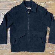 Columbia Us Mens Size L Black Wool Blend Full Zip Winter Coat Jacket Photo