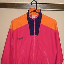 Columbia Vintage Retro 90's Fleece Neon Multi Hipster Women's M Athletic Radial Photo
