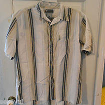 Columbia White/blue Striped Short Sleeved Shirt - X Large - Euc Photo