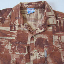 Columbia Wildlife Button-Up Cotton Ss Shirt Outdoors Animals Scenic Brown Mens L Photo