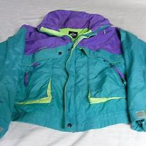 Columbia Windbreaker Purple Teal Green Neon Jacket Radial Sleeve Men's M Rs 7165 Photo