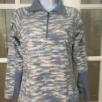 Columbia Women's Blue & White Patterned 1/4 Zip Light Fleece Pullover  Size S Photo