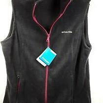 Columbia Women's Fleece Vest L/g - Nwt - Hunter Green W/ Pink Zipper  Photo
