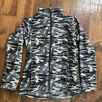 Columbia Womens L/xl Camo Fleece Jacket Full Zip Gray Black Zipper Pockets Logo Photo