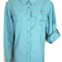 Columbia Womens Bahama Pfg Shirt Top Size Xl Blue Long Sleeve Vented Button  Photo