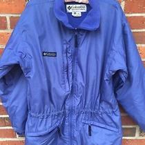 Columbia Womens Outdoor Jacket Blue Sz Medium Insulated Fleece Lining No Hood  Photo