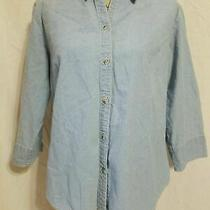 Columbia Womens Size Xl Blouse 3/4 Sleeve Button Up Collared Fitted Denim Blue Photo