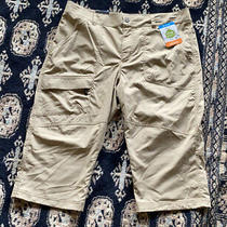 Columbia Womens Xl L Half Shorts Omni-Shade Pants Active Fit Nwt Khaki White Photo