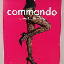 Commando Dig-Free Luxury Legwear Luxe Lace Stripe Pantyhose Black Tights S Small Photo
