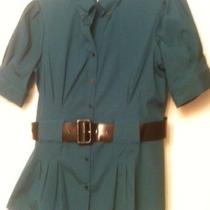 Como Stretch Ladies Sz S Aqua Button Top Blouse Fitted Style With Belt Very Euc Photo