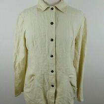 Compagnie Internationale Express Womens Ls Button Up Beige Blazer Blouse Shirt M Photo