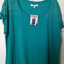 Company ( Ellen Tracy) Brand  Xxl Teal Top With Silver Bling. Photo