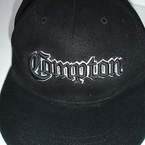 Compton Ball Cap Hat Embroidered Black One Size Flat Bill by Virtis New W/o Tags Photo