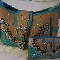 Conceal Carry Western Buckle Studded Hobo & Multi Functional Trifold Clutchset Photo