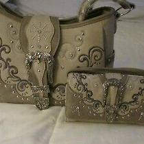 Conceal Carry Western Buckle Studded Shoulder Hobo & Multi Functional Clutch Set Photo