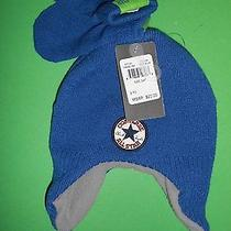 Converse All Star Boys 2-4t Toddler 2pc Set Beanie Hat Trapper & Mittens Blue  Photo