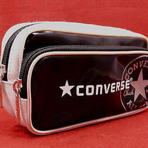 Converse All Star Chuck Taylor Black & White Glossy Cosmetic Bag Travel Tote Exc Photo