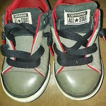 Converse All Star Chuck Taylor Infant Toddler Black Gray Shoes Size 8c Slip On Photo