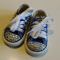 Converse All Star Infant Shoes Size 2 With Bling Blue Photo