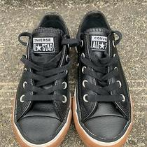 Converse All Star Junior Size 12 All Black Leather Lace Up Sneakers Photo