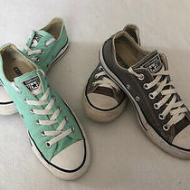 Converse All Star Low Sneaker Shoes Gray  Mint Green Womens Size 8 Lot of 2 Photo