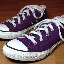 Converse All Star Low Tops Purple Youth Size 2 Euc  Photo