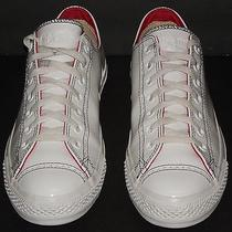Converse All Star Shoes White Patent Leather Chuck Taylor Low Top Sneaker Sz 10  Photo