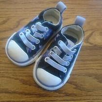 Converse All Star Sz 2  Toddler Navy Blue With Stars Stretch Lace Athletic Shoes Photo